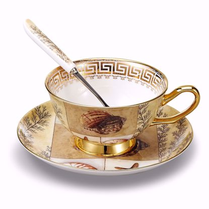 Picture of Panbado 3 Piece Bone China Tea Cup and Saucer Set with Spoon,6.8 Ounce Porcelain Coffee Cup Set, Service for 1, Shell