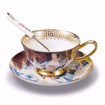 Picture of Panbado 3 Piece Bone China Tea Cup and Saucer Set with Spoon,6.8 Ounce Porcelain Coffee Cup Set, Service for 1, Attic Lady Oil Painting Figure