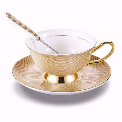 Picture of Panbado 3 Piece Bone China Tea Cup and Saucer Set with Spoon,6.8 Ounce Porcelain Coffee Cup Set, Service for 1, Golden Grid