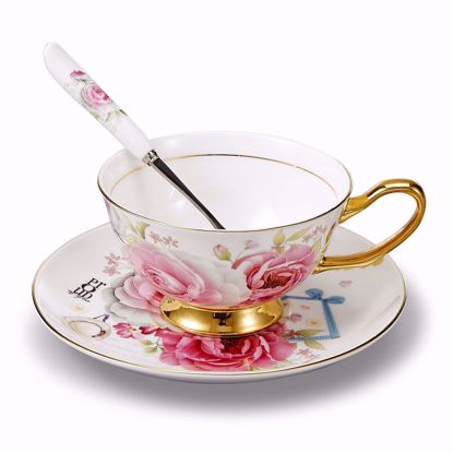 Picture of Panbado 3 Piece Bone China Tea Cup and Saucer Set with Spoon,6.8 Ounce Porcelain Coffee Cup Set, Service for 1, Pink Rose