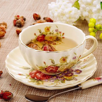 """Picture of Panbado 3-Piece Gold Rimmed Creative European Luxury Hand Painted Ivory China Flower Tea Coffee Set Porcelain Tea Service with 10 Ounce 5"""" Cup 4.5"""" Saucer and 6"""" Spoon(Piece of 3)"""