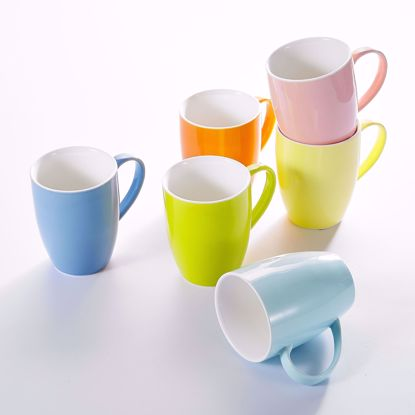 """Picture of Panbado KT051 6 Colors Porcelain Mugs Cups for Coffee and Tea 5oz, Set of 6, 5"""" (12.5x8.6x11cm)"""