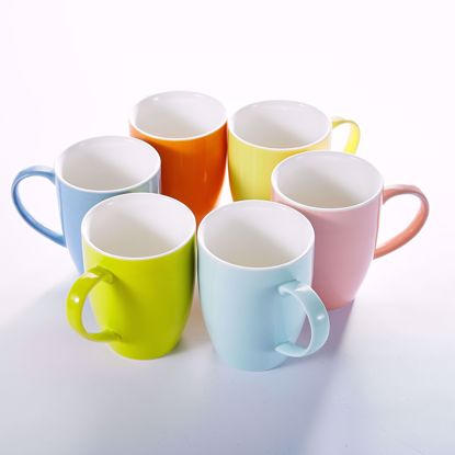 """Picture of Panbado 6 Colors 5"""" (12.5 ounce) Porcelain Mugs Cups for Coffee & Tea, Set of 6"""