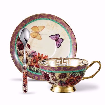 Picture of Panbado Bone China 6.8 oz Tea Cup and Saucer Set with Spoon, Vintage Porcelain Coffee Cup Set,Piece  of 3 - Butterfly and Flower